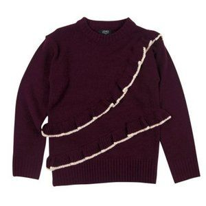 NWT JONES NEW YORK Burgundy Ruffle-Trim Sweater